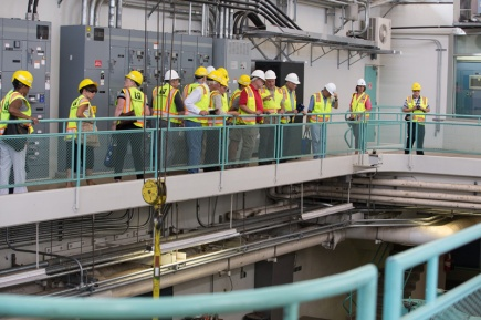 Retirees and special guests tour the treatment plant.
