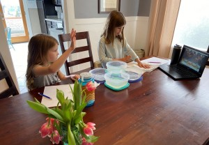 Students at home following along with water lessons & experiments