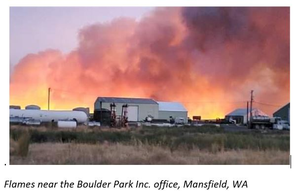 Flames near the Boulder Park office in Mansfield, WA