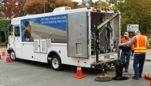 Wastewater facilities inspection crews use a CCTV/video truck to look into sewers