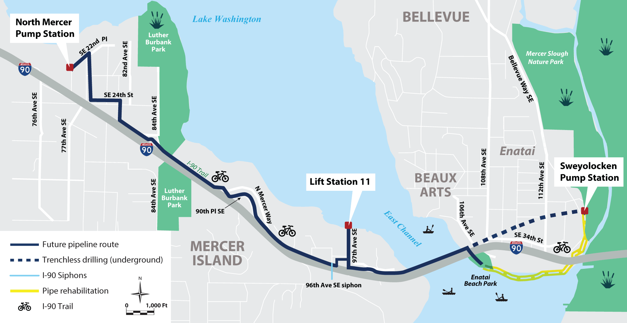 map of the construction area