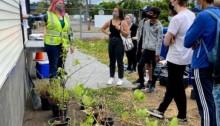 Interns discussing environmental monitoring at Mini Mart City